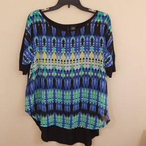 New Direction top large blue and black